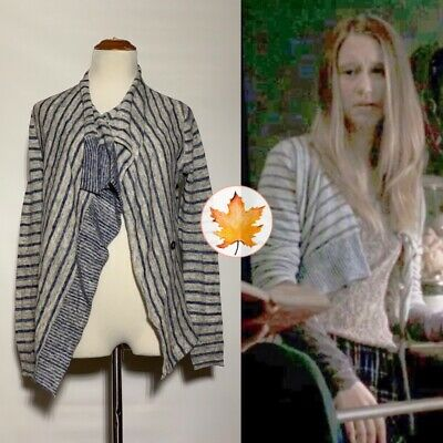 $ CDN185.59 • Buy BANANA REPUBLIC Striped Draped Cardigan EXACT SA Blue Gray S ASO VIOLET HARMON