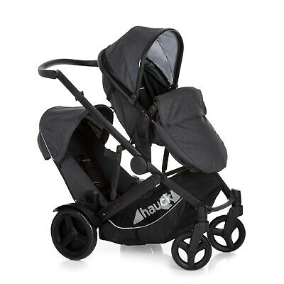 Hauck Duett 3 Pushchair Tandem Stroller - Charcoal With Raincover • 309£