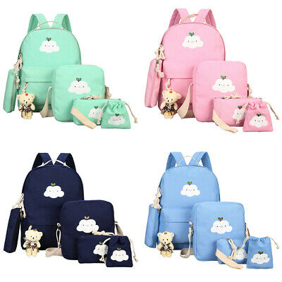 $16.98 • Buy 6pcs/Set Women Girls School Backpack Canvas Bag RucksackTravel Teenage Bookbag