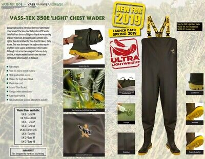 New Vass - Tex 350 E Lightweight Chest Wader VA350-70E - Fishing Wader • 78.97£