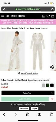 Silver Sequin Jumpsuit Pretty Little Thing • 21£