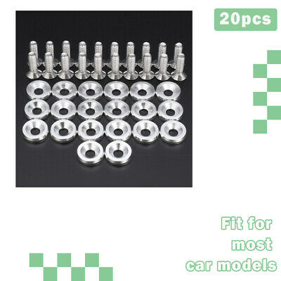 $15.68 • Buy Fender Bumper Washer Bolt Engine Bay Dress Up Kit Billet Aluminum 20pcs Sliver