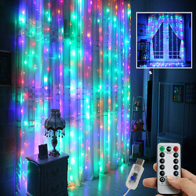 300 LED Curtain Fairy Lights In/Outdoor Wedding Party Christmas Room Decor UK • 7.29£