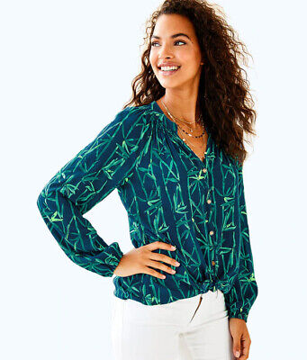 LILLY PULITZER Elsa Bamboo Print Button Front Blouse Top Size Small • 34$