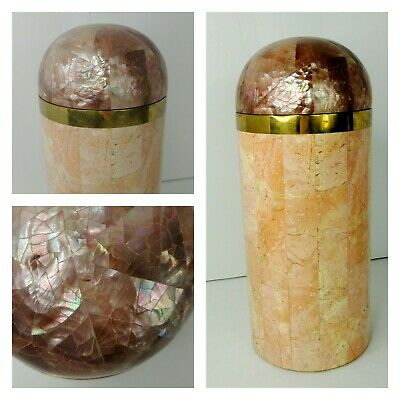 $307.99 • Buy Vintage Maitland Smith Tessellated Marble & Mother Of Pearl Tall Canister Box
