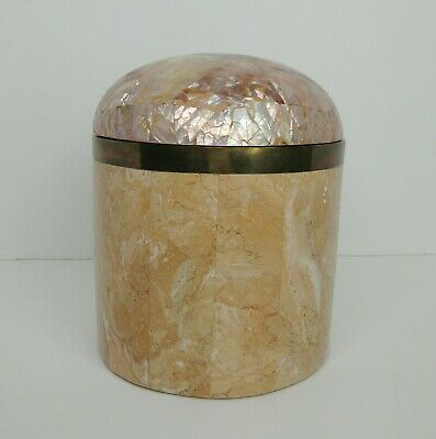 $316.79 • Buy Vintage Maitland Smith Tessellated Marble & Mother Of Pearl Wide Canister Box