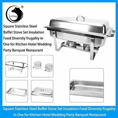 9L Stainless Steel Chafing Dish Set Food Warmer Buffet Food Pans Fuel Party • 38.88£