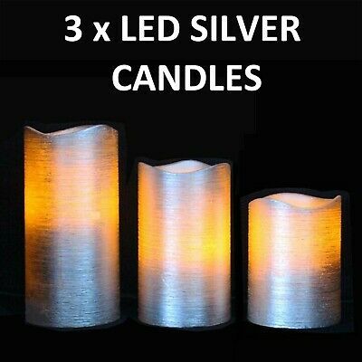 3 X Battery Operated Led Flameless Church Pillar Candles Real Wax Silver Scented • 6.99£