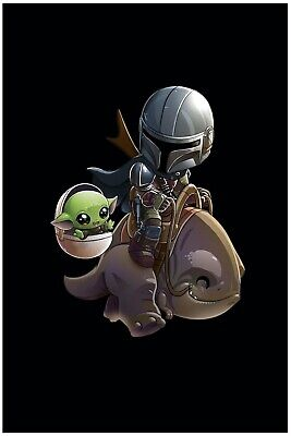 $9.95 • Buy Baby Yoda Next To Mandalorian Poster Black Background 12x18in Free Shipping