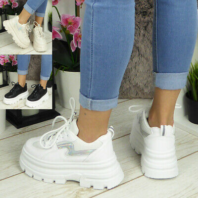 Ladies Platform Trainers Womens Chunky Heel Sneakers Classic Lace Up Shoes Size • 19.99£