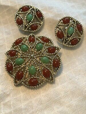 Vintage Brooch Clip On Earrings Round Silver Tone Signed Sarah Coventry • 5.95$