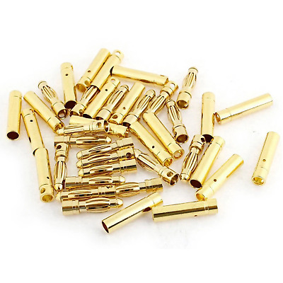 $5.45 • Buy 20 Pairs 2mm Gold-Plated Bullet Connectors (20) Male (20) Female