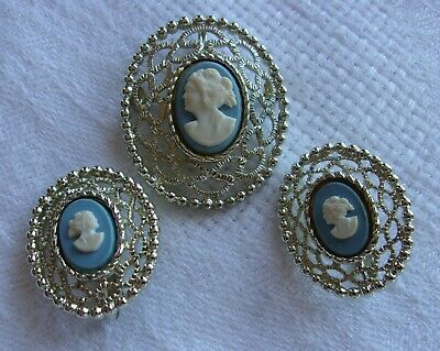 $18 • Buy Vintage Sarah Coventry Cameo Brooch & Clip-On Earrings Set