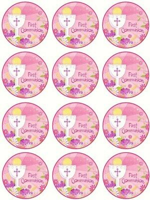 24 1st Holy Communion Girl First Cake Toppers Edible Party Decorations • 1.99£