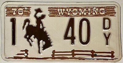 1978 WYOMING Brown Picket Fence License Plate - WY #1-40DY • 11.97$