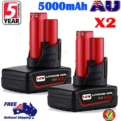 AU60.49 • Buy 2X For Milwaukee 12V M12 Battery XC 5.0 48-11-2440 48-11-2401 48-11-2420 2411