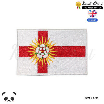 WEST RIDING England County Flag Embroidered Iron On Sew On Patch Badge • 1.99£