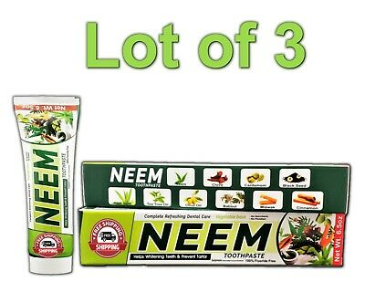 Lot 3 Neem Toothpaste 10 In 1 Essential 100% Fluoride Free & Vegetable Base NEW • 11.41£