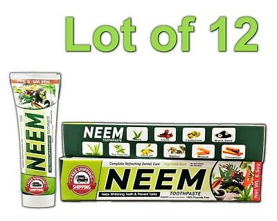 Lot 12 Neem Toothpaste 10 In 1 Essential 100% Fluoride Free & Vegetable Base NEW • 30.72£
