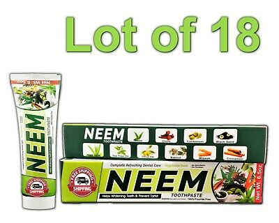 Lot 18 Neem Toothpaste 10 In 1 Essential 100% Fluoride Free & Vegetable Base NEW • 41.45£