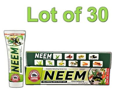 Lot 30 Neem Toothpaste 10 In 1 Essential 100% Fluoride Free & Vegetable Base NEW • 65.77£