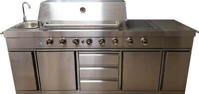 New 3 In 1 Stainless Steel Outdoor BBQ Kitchen Island Grill Propane LPG W/ SINK • 3,499$