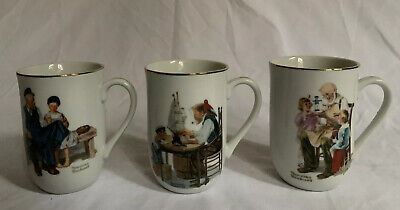 $ CDN26.23 • Buy Vintage Norman Rockwell Museum Porcelain Collector Mugs 1982 Lot Of 3