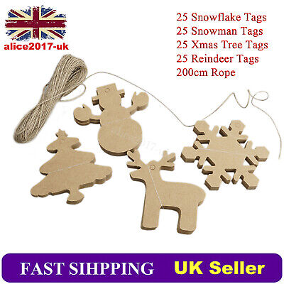 100PCS Mix 4 Style Brown Kraft Paper Christmas Gift Parcel Tags Label Luggage • 2.99£