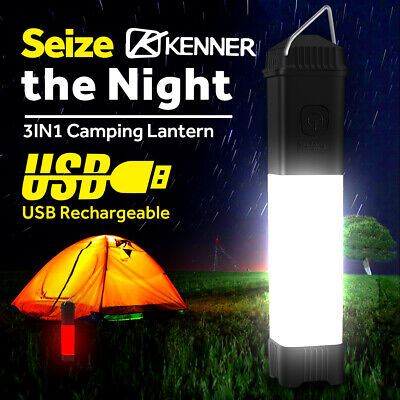 AU25.46 • Buy Rechargeable LED Camping Lantern Work Light Flashlight Outdoor Tent Lamp Torch