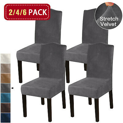 AU51.49 • Buy Thick Velvet Dining Chair Covers Slip Covers Dining Room Chairs Cover 2/4/6 Pack