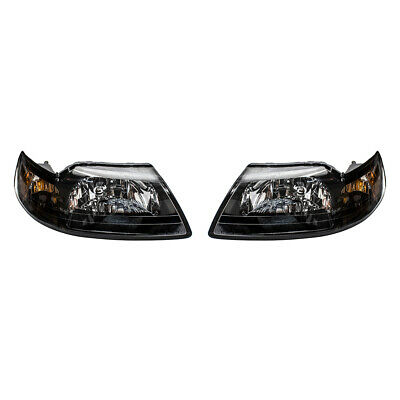 $81.52 • Buy Pair Headlights Fits 1999-2004 Ford Mustang Smoked Lens With Black Bezels Set