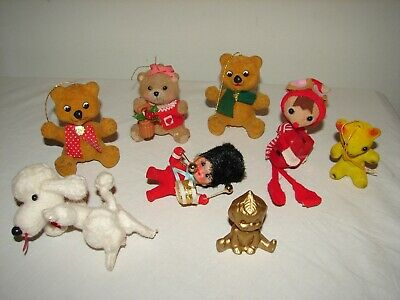 $ CDN19.74 • Buy  Vintage Flocked Ornaments Kitsch Christmas Decorations Lot Animals Bears 8pc