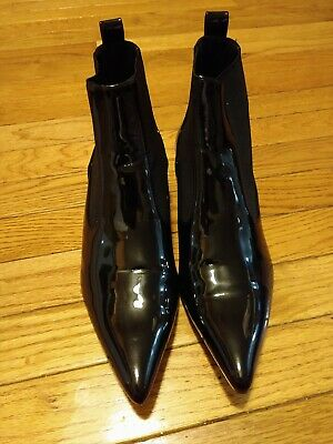 Zara Trafaluc Chelsea Boot Patent Leather Black Pointy Toe Size 38 US 7.5 • 25$