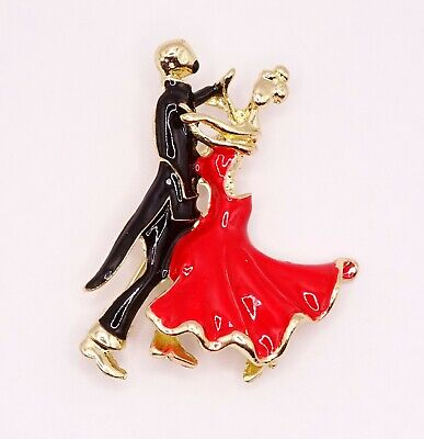 £5 • Buy Strictly Dancing Ballroom Couple Red Enamel Brooch Pin Brand New FREE P&P