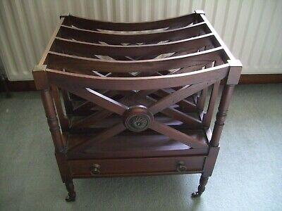 Solid Wood & Brass Canterbury Magazine / Newspaper Rack With Drawer Collect Only • 45£