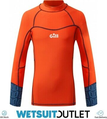 Gill Junior Pro Long Sleeve Rash Vest Top - Orange - Lightweight UV Sun • 29.95£