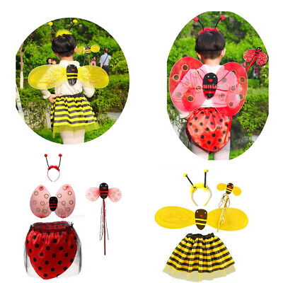 £6.70 • Buy 4/set Girls Kids Insect Bumble Bee Ladybird Costume Fairy Party Fancy Dress Set