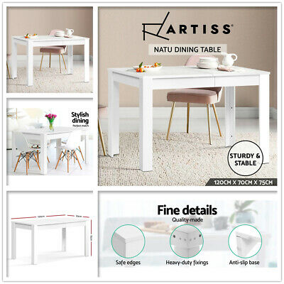 AU159 • Buy 120cm Dining Table 4 Seater Wooden Kitchen Tables White Home Cafe Restaurant New