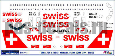 1/144 PAS-DECALS. ZVEZDA. Revell Airbus A320 SWISS • 7.15£