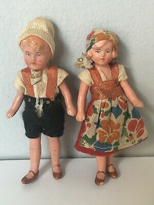 "$ CDN77.30 • Buy Lot Of 2 Miniature Dollhouse Porcelain 3.5"" Dolls Marked 787 Stamped Germany"