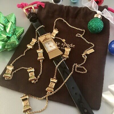 $ CDN146.14 • Buy Kate Spade CARLYLE Gold Bow Watch Black Patent Leather Strap Plus Bow Necklace