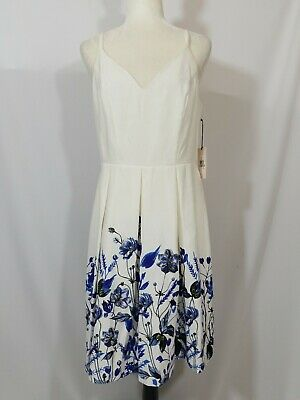 $ CDN33.99 • Buy NWT Ivanka Trump White Blue Jewelled Floral Sweetheart Neck A-Line Dress Size 12