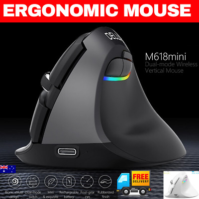 AU49.95 • Buy Rechargeable Wireless Vertical Ergonomic Mouse RGB BLUETOOTH Gaming Type C Mac