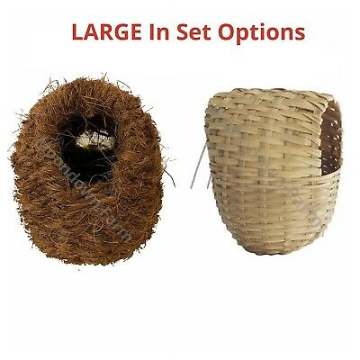 £5.45 • Buy Large Finch Wicker Or Coco Nesting Box Nest With Hooks Back Finches Canary 15x11