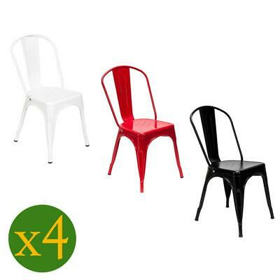 $96.59 • Buy 4Pcs Metal Bistro Dining Side Chair Indoor/Outdoor Stackable Red/Black/White