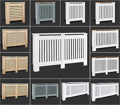 £30.90 • Buy White Radiator Cover Cabinet Small Large Modern MDF Slat Wood Grill Furniture