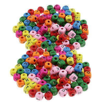 £5.67 • Buy 200pcs Wooden Alphabet Letters Cube Loose Beads For Crafts Decoration 10mm