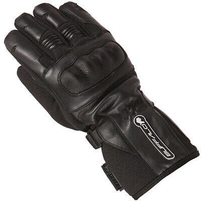 £29.99 • Buy Buffalo Shadow Leather Textile Mix Motorcycle Motorbike Scooter WP Gloves Black