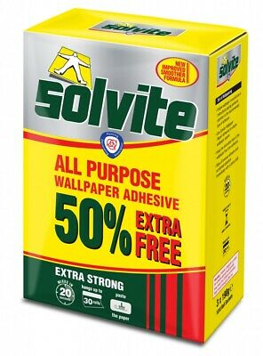 Solvite Wallpaper Adhesive Hangs Up To 30 Rolls Quick Mix 3 X 185g Sachets • 9.99£