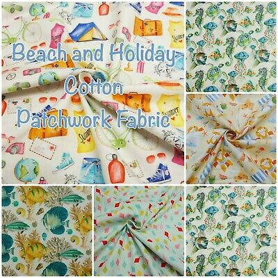 £9.99 • Buy Nautical Seaside Holiday Beach Sea Creatures 100% Cotton Patchwork Craft Fabric